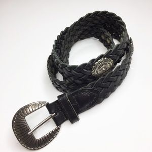 Vintage Black leather braided belt silver hardware